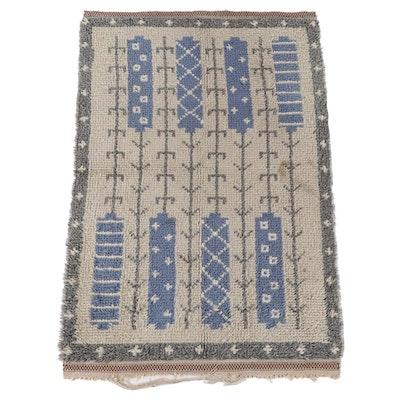 3'2 x 5'3 Hand-Knotted Scandinavian Rya Wool Area Rug