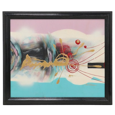 Eve Turner Abstract Acrylic Painting, Late 20th Century