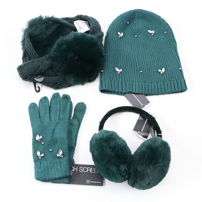 INC International Concepts Forest Green Embellished Cold Weather Accessories