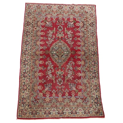 4'5 x 7'6 Hand-Knotted Persian Kerman Wool Area Rug