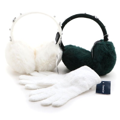 INC Forest Green and Ivory Embellished Ear Muffs with Charter Club Knit Gloves