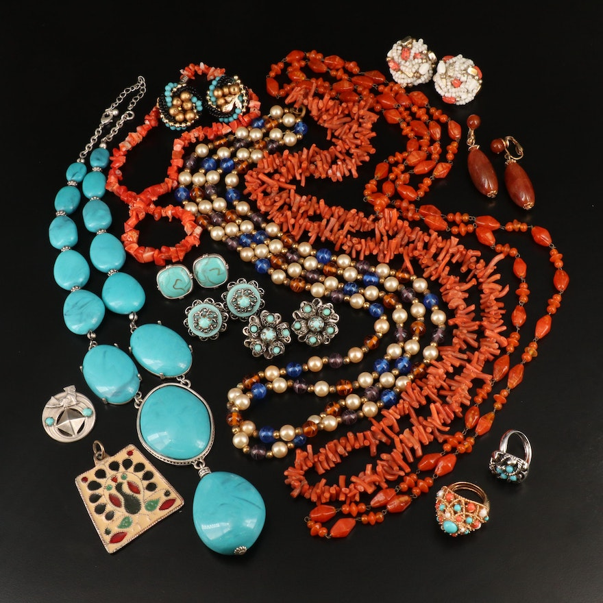 Coral and Enamel Jewelry with Floral Studs and Peacock Pendant