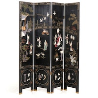 Chinese Black Enamel Room Divider with Applied Stone Figures, Late 20th Century