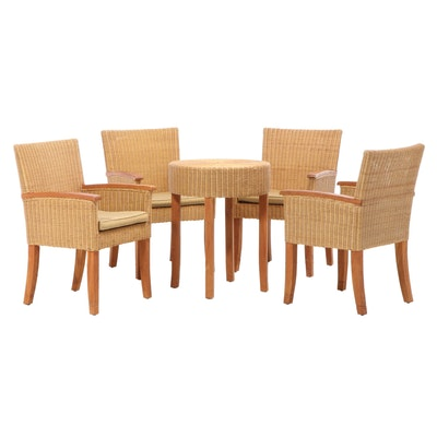 Four Williams-Sonoma Wicker Armchairs and End Table