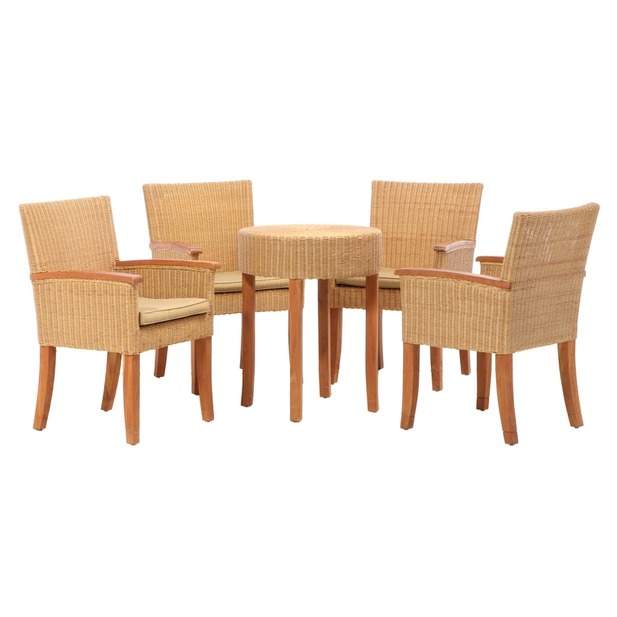 Four Williams-Sonoma Wicker Armchairs and Table Base