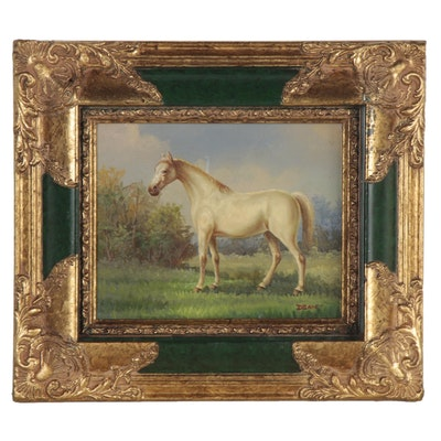 Equine Oil Painting of a White Horse, Mid to Late 20th Century