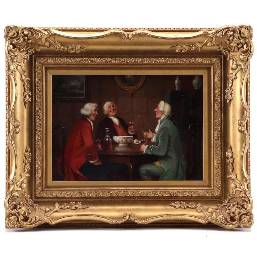 George Fox Oil Painting of Gentleman at Table, Early 20th Century
