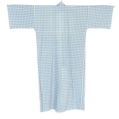 Men's Hakko Blue and White Basket Weave Patterned Yukata