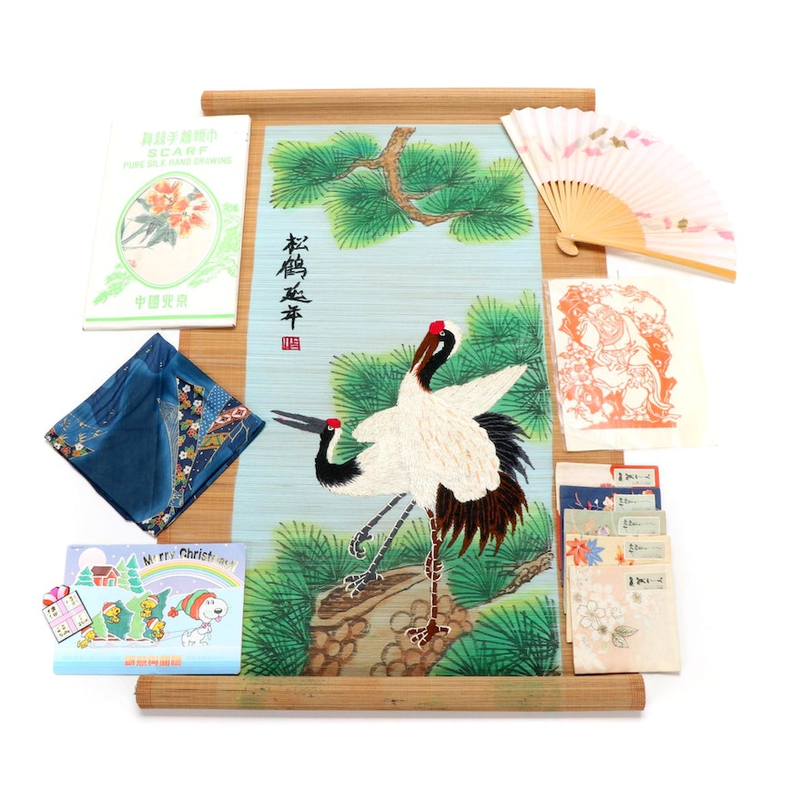 East Asian Painted and Embroidered Bamboo Wall Scroll, Silk Scarves, and More
