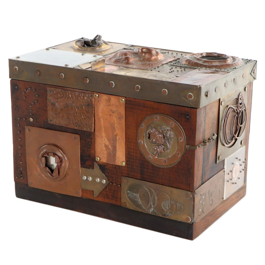 Brutalist Style Mixed Media Patchwork Decorative Box