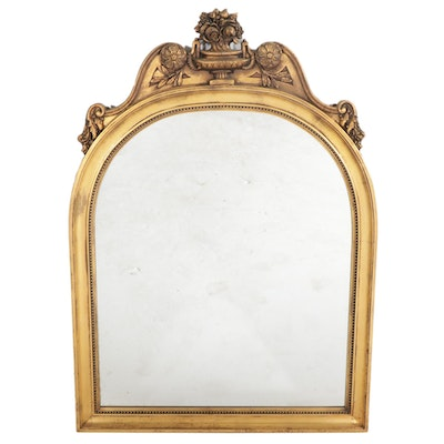 Large Neoclassical Gilt Wood Arched Dome Wall Mirror, Mid to Late 20th Century