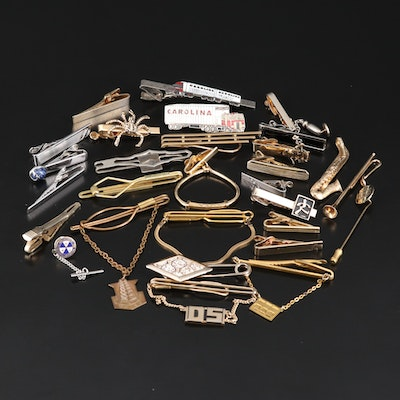 Tie Bars, Tie Tags and Pin Assortment Including Sterling and Enamel