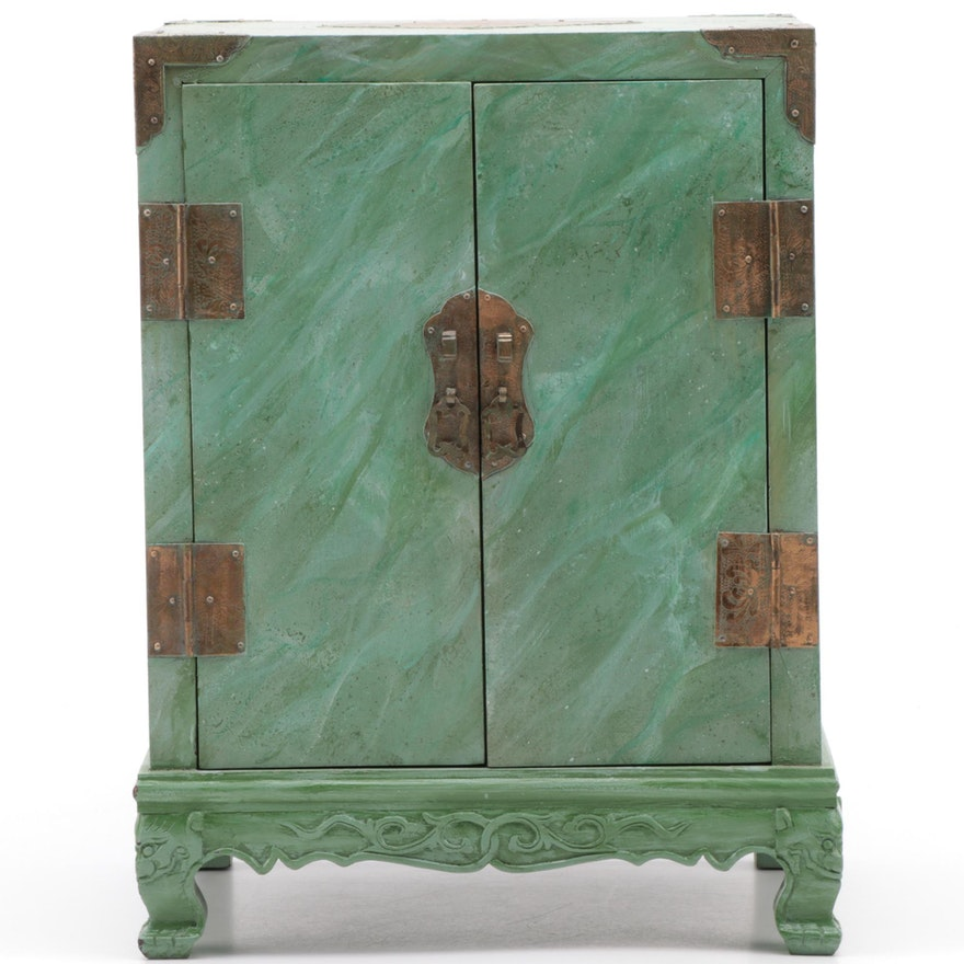 Chinese Brass-Mounted Tabletop Cabinet in Later Paint, Signed Jan K. Wolf