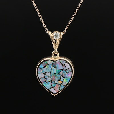 14K Mosaic Opal Heart and Diamond Pendant Necklace