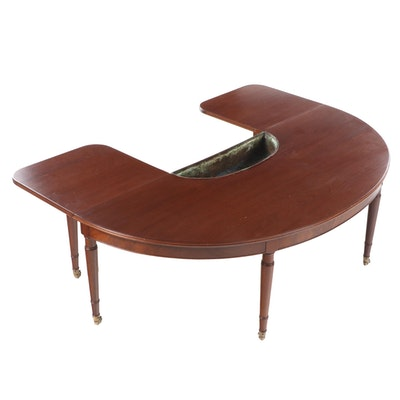 Regency Style U-Shaped Hunt Coffee Table with Copper Basin, Early to Mid 20th C.