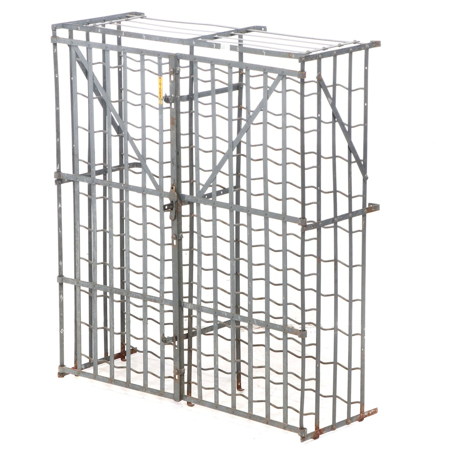 Rigidex Industrial French Strap Metal 100 Bottle Wine Cage, Mid-20th Century