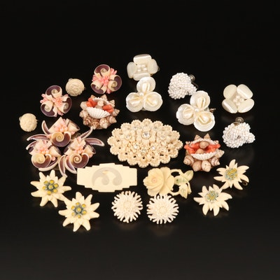 Circa 1930 Coral, Bone and Shell Brooches, Pins and Non-Pierced Earrings