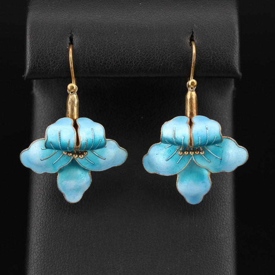 Sterling Silver Champlevé Enamel Flower Earrings