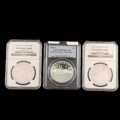 NGC Graded PF69 Ultra Cameo 2010 Boy Scouts Commemorative Silver Dollars