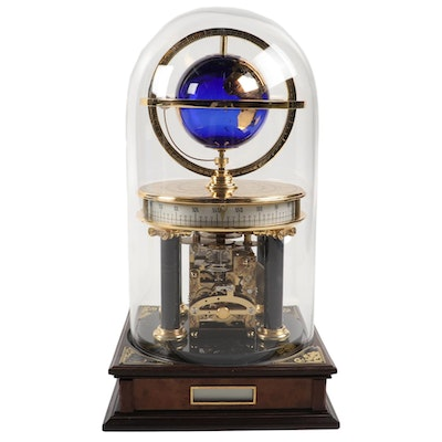 Glass Domed Brass Mantel World Clock with Cobalt Globe and Agate Marker