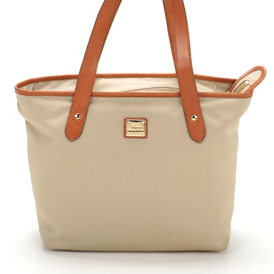 Lauren Ralph Lauren Tote in Khaki Nylon with Leather Trim