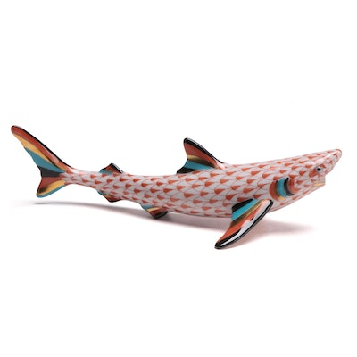 "Herend Rust Fishnet ""Shark"" Porcelain Figurine"