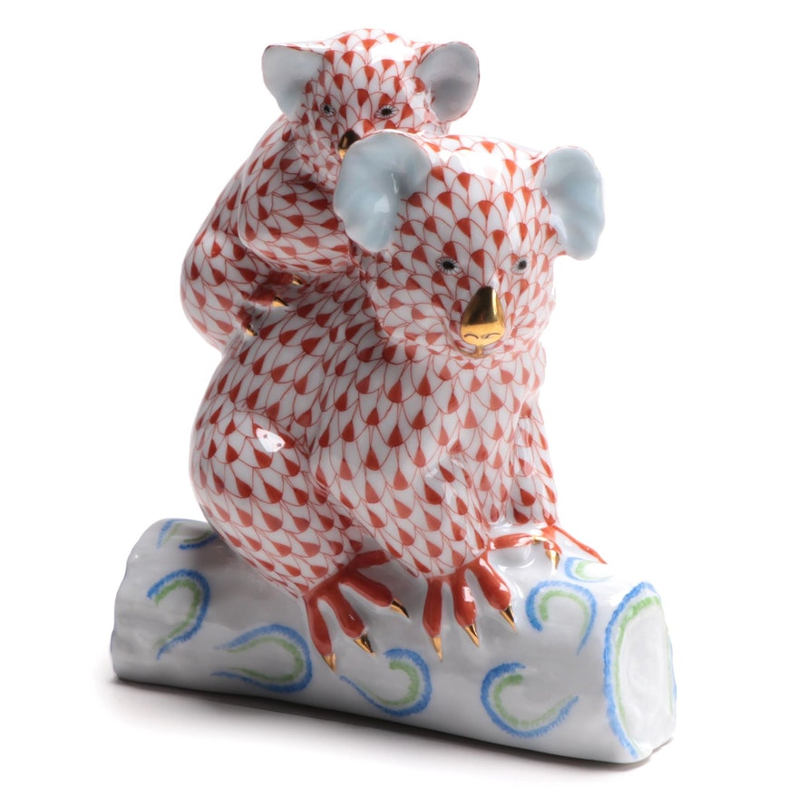 "Herend Rust Fishnet ""Pair of Koalas"" Porcelain Figurine"
