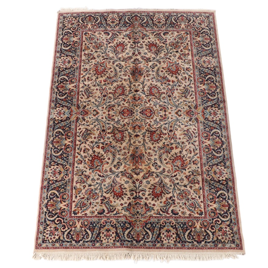 5'5 x 8'9 Machine Made Indian Floral Wool Area Rug