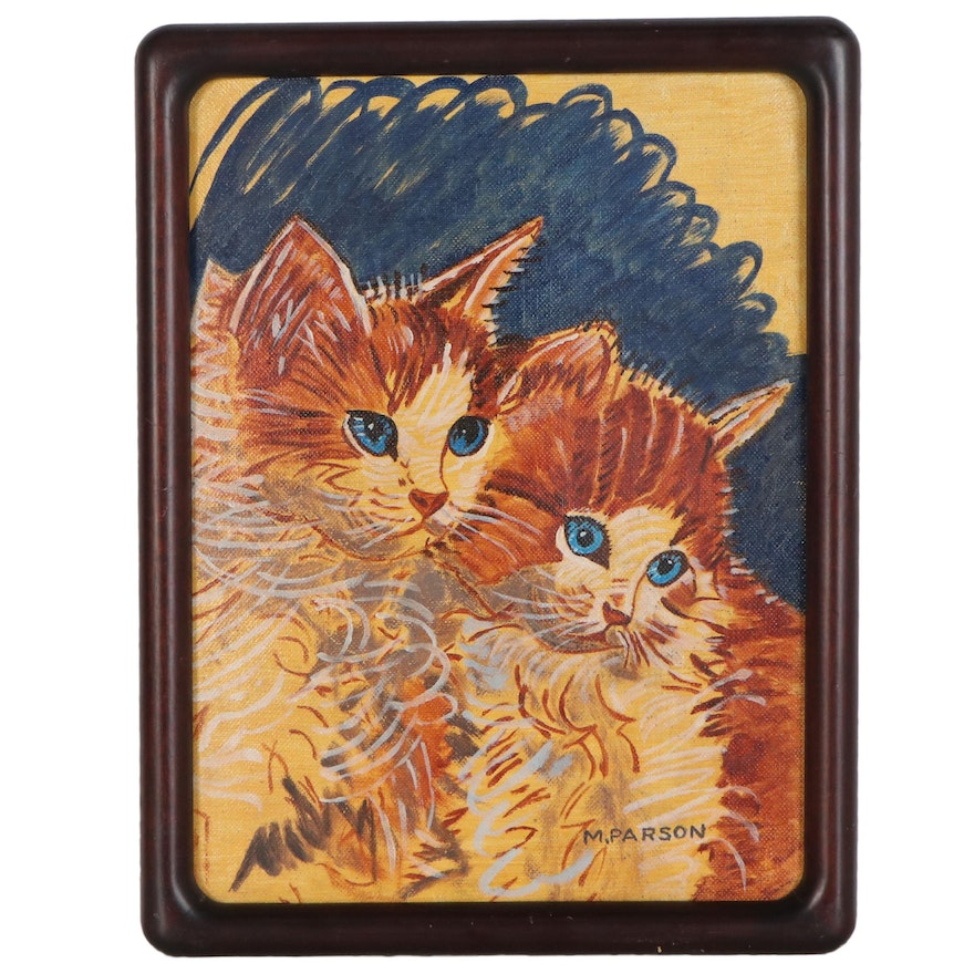 Acrylic Painting after Walter T. Foster of Kittens, Late 20th Century