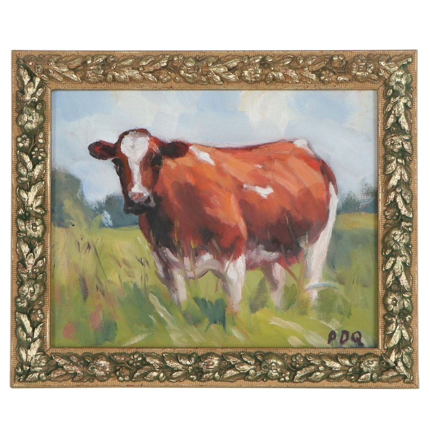 Peter Chorao Oil Painting of Cow in the Pasture, 21st Century