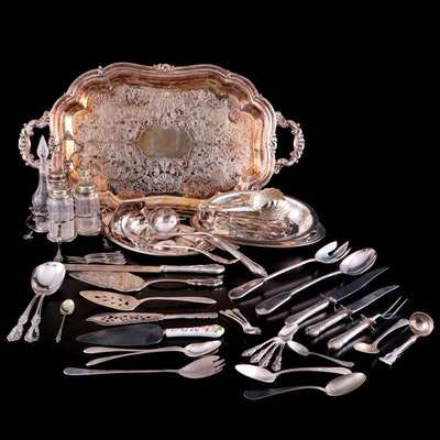 Castleton and Other Silver Plated and Sterling Handled  Flatware and Serveware
