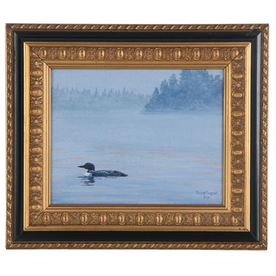 "Scott Patton Acrylic Painting ""Loon in the Mist,"" 2020"