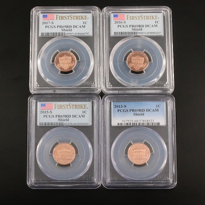 Four PCGS Graded PR69RD DCAM Lincoln Cents