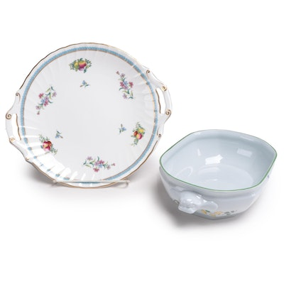 "Spode Bone China ""Trapnell"" Serving Plate and ""Summer Place"" Bowl, Late 20th C"