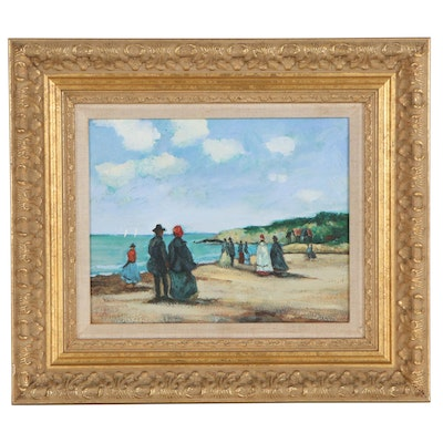 Beach Scene Oil Painting, Late 20th Century