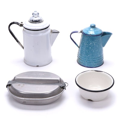 Enamel Coffee Pitchers, Percolators and Other Dishes, Mid-20th Century