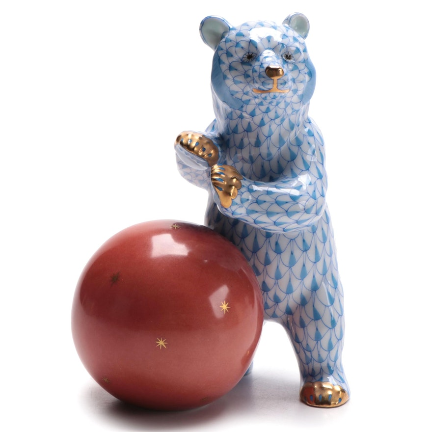 "Herend Blue Fishnet with Terracotta ""Bear with Ball"" Porcelain Figurine"