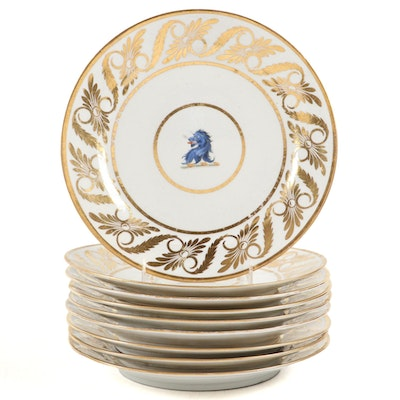 English Regency Armorial Porcelain Plates, Early 19th Century