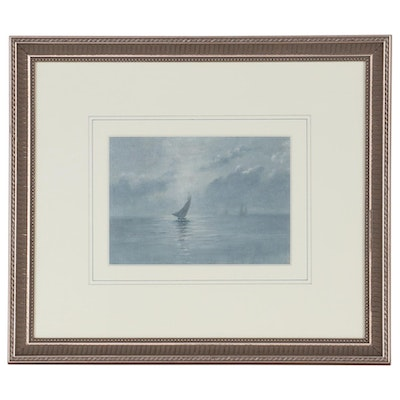 Nautical Nocturne Oil Painting, Late 19th Century