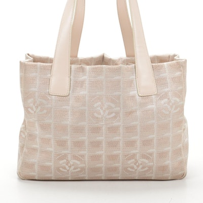 Chanel Travel Line CC Tote in Metallic Pink Nylon Jacquard and Leather