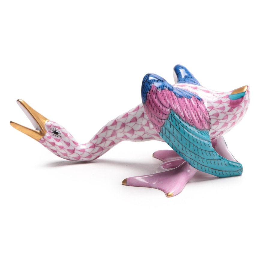 "Herend Raspberry Fishnet ""Wild Duck"" Porcelain Figurine, 1993"