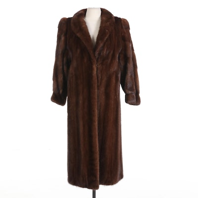 Saga Mink Chestnut Mink Fur Coat with Banded Cuffs