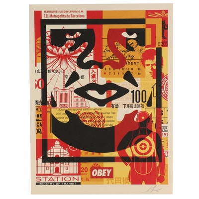 "Shepard Fairey Offset Print Poster ""OBEY 3-Face Collage,"" 2020"
