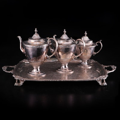 Reed and Barton Silver Plate Partial Coffee Set with Rogers Footed Tray