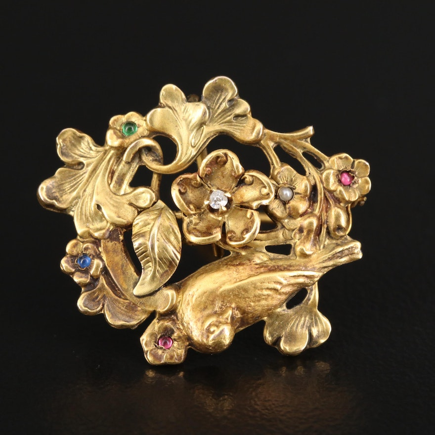 Art Nouveau 10K Diamond, Seed Pearl and Glass Floral Converter Brooch