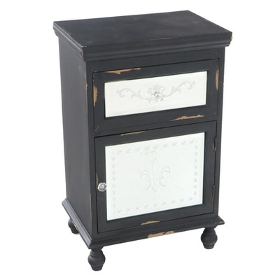 Contemporary Ebonized Side Cabinet with Etched, Beveled, & Mirrored Glass Panels