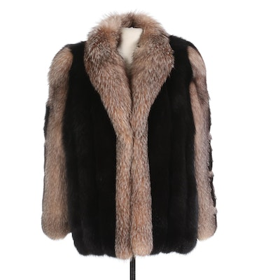 Black and Crystal Fox Fur Coat with Stenciled Sleeves