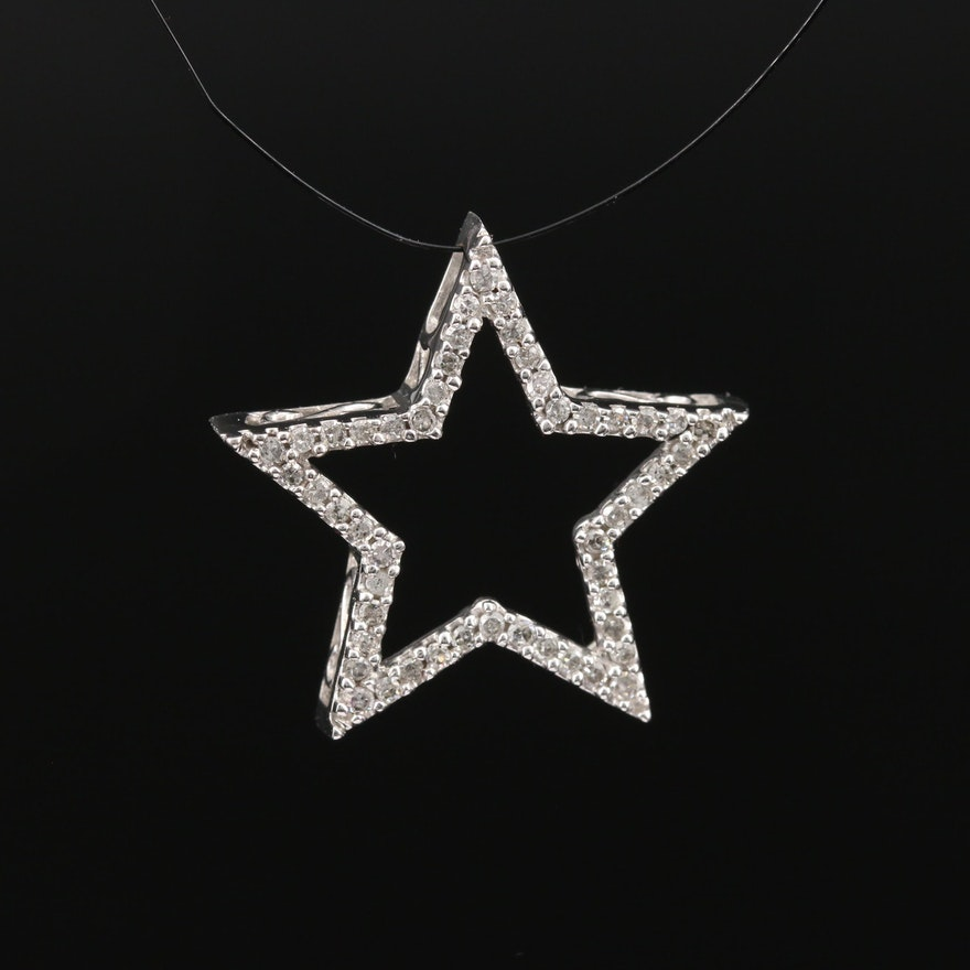 10K Diamond Star Slide Pendant