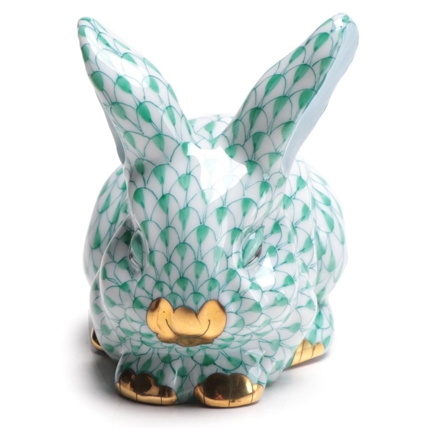 "Herend Green Fishnet with Gold ""Sleeping Bunny"" Porcelain Figurine, 1998"