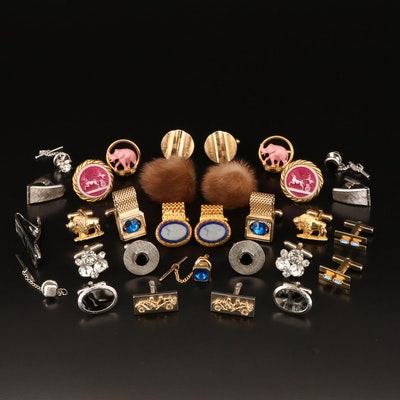 Cufflinks, Tie Bar and Tie Tacs Including Mink, Black Onyx and Rhinestones